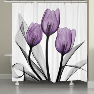 Laural Home Violet Florals Shower Curtain