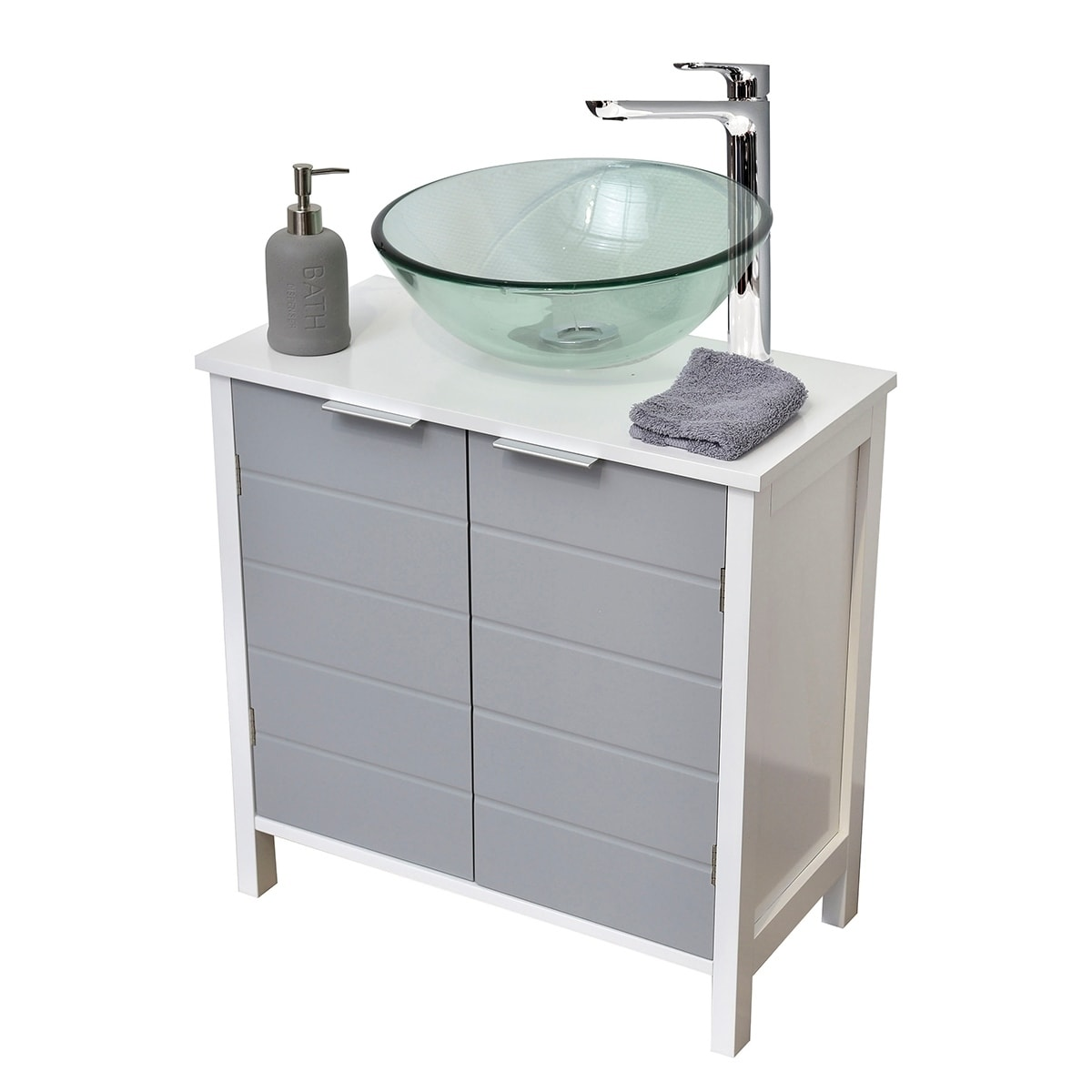 Evideco non pedestal under sink storage vanity cabinet - Bathroom vanity under sink organizer ...