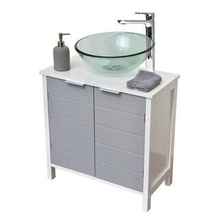 Evideco Non Pedestal Under Sink Storage Vanity Cabinet-Modern D- White and Grey