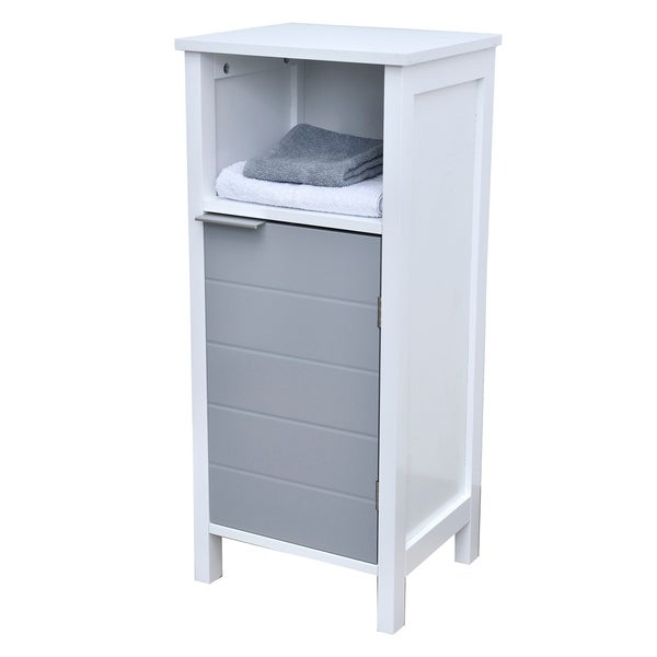 Evideco Freestanding Bathroom Floor Storage Cabinet 1 Door with Shelves -Modern D- White and