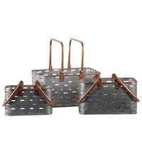 UTC56203: Metal Rectangular Basket with Copper Rounded Edge Rim and Handles Set of Three Galvanized Finish Gray