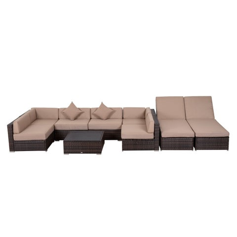 Outsunny 9 Piece Aluminum Outdoor Patio Rattan Wicker Sofa Sectional Furniture Set - Desert Sand
