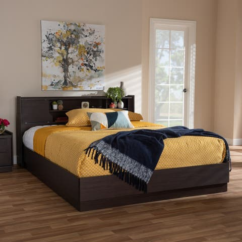 Contemporary Brown Finished Queen Size Storage Bed by Baxton Studio