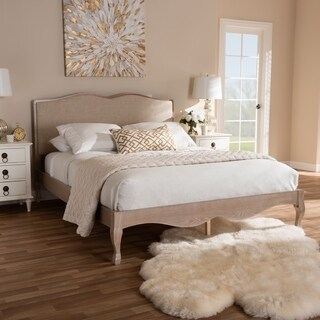 French Style Beige Fabric and Oak Wood Platform Bed by Baxton Studio