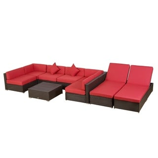 Outsunny 9 Piece Aluminum Outdoor Patio Rattan Wicker Sofa Sectional Furniture Set - Crimson