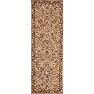 """Hand-hooked Wool Rust/ Grey Traditional Floral Runner Rug - 2'6"""" x 7'6"""" Runner"""