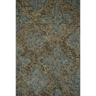 "Hand-hooked Wool Dark Grey/ Multi Traditional Damask Area Rug - 7'9"" x 9'9"""