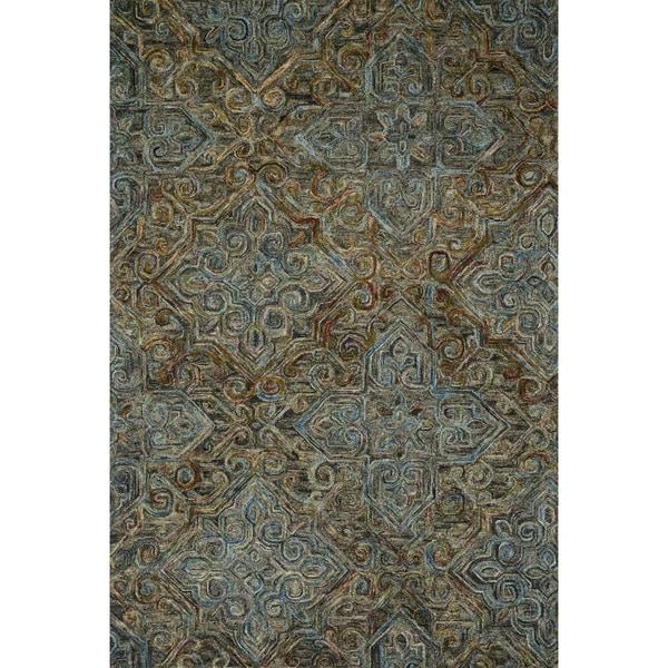 "Hand-hooked Wool Dark Grey/ Multi Traditional Damask Area Rug - 7'9"" x 9'9"""