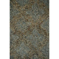 Hand-hooked Wool Dark Grey/ Multi Traditional Damask Area Rug - 7'9 x 9'9