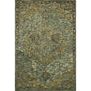 """Hand-hooked Wool Dark Green/ Brown Traditional Medallion Area Rug - 7'9"""" x 9'9"""""""