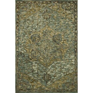 "Hand-hooked Wool Dark Green/ Brown Traditional Medallion Area Rug - 7'9"" x 9'9"""