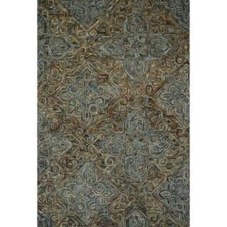 "Hand-hooked Wool Dark Grey/ Multi Traditional Damask Area Rug - 5' x 7'6"""