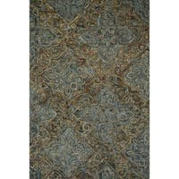 Hand-hooked Wool Dark Grey/ Multi Traditional Damask Area Rug - 5'x 7'6