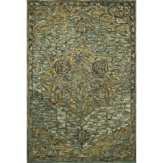 """Hand-hooked Wool Dark Green/ Brown Traditional Medallion Area Rug - 5' x 7'6"""""""
