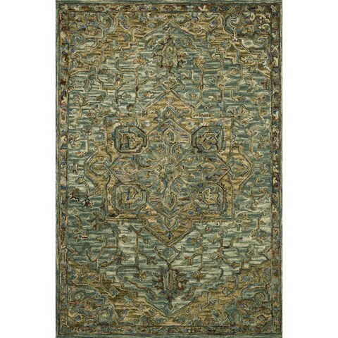Hand-hooked Wool Dark Green/ Brown Traditional Medallion Area Rug - 5'x 7'6