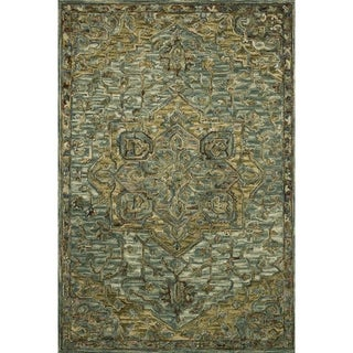 """Hand-hooked Wool Dark Green/ Brown Traditional Medallion Area Rug - 3'6"""" x 5'6"""""""