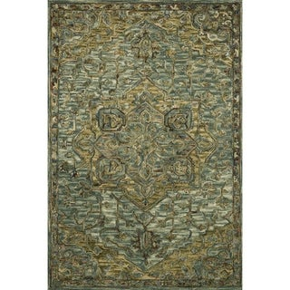 """Hand-hooked Wool Dark Green/ Brown Traditional Medallion Area Rug - 9'3"""" x 13'"""