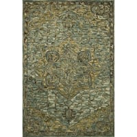 "Hand-hooked Wool Dark Green/ Brown Traditional Medallion Area Rug - 9'3"" x 13'"