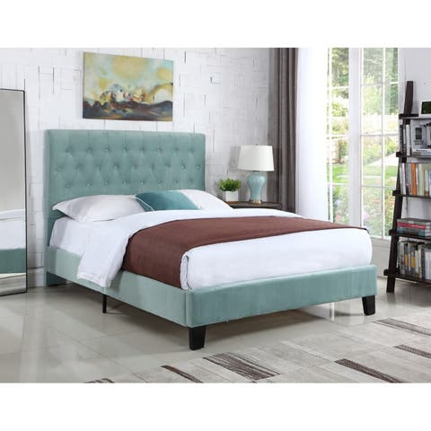 Emerald Home Amelia Light Blue Full Tufted Upholstered Bed
