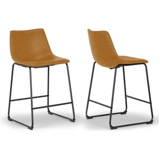 Set of 2 Adan Iron Frame Vintage Cappuccino Faux Leather Counter Stool