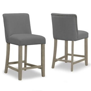 Set of 2 Aleco Grey Fabric Counter Stool with Metal Nail Head Accents