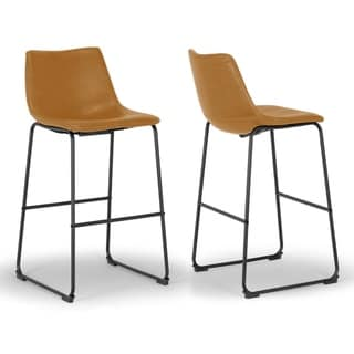 Link to Set of 2 Adan Iron Frame Vintage Cappuccino Faux Leather Bar Stool Similar Items in Dining Room & Bar Furniture