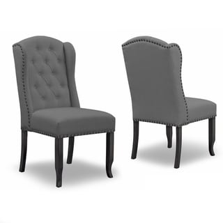 Set of 2 Alen Grey Fabric Dining Chair with Wings Tufting Nail Heads