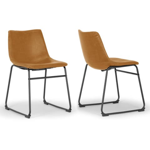 Set of 2 Adan Iron Frame Vintage Cappuccino Faux Leather Dining Chair