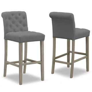 Set of 2 Aleen Grey Fabric Bar Stool with Roll Back and Tufted Buttons