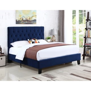 Emerald Home Amelia Navy Blue Full Upholstered Bed w/Tufted Headboard
