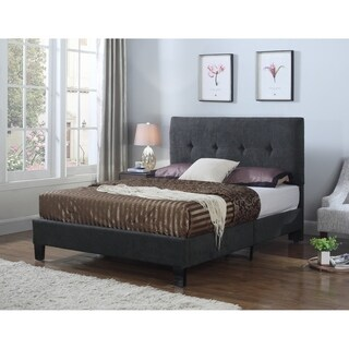 Emerald Home Harper charcoal gray tufted upholstered bed B129-09HBFBR-03