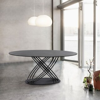 Finehaus Maddox Grey Powder-coated Metal Contemporary Dining Table with Grey Stone Glass Top