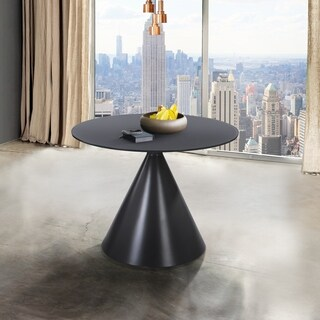 Finehaus Camilia Contemporary Grey Matte Finish Wood and Grey Glass Top Dining Table
