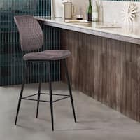 Armen Living Buckley Contemporary Barstool in Matte Black Powder Coated Finish and Grey Fabric