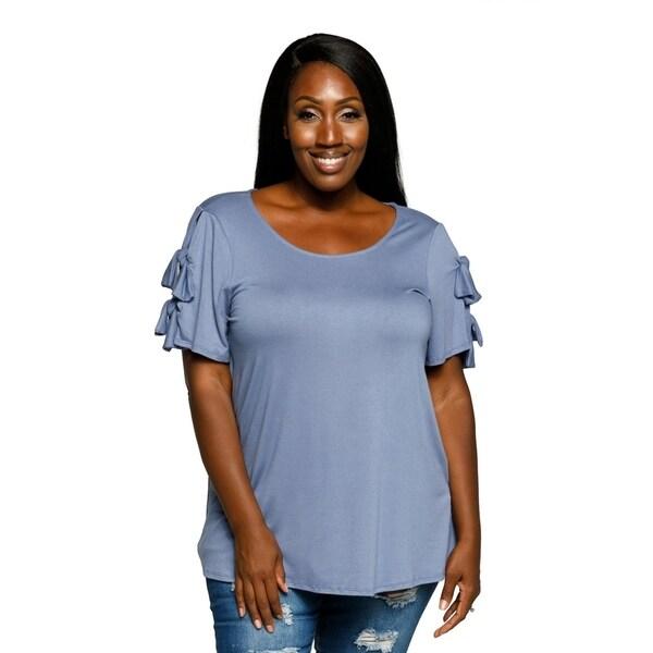 b48e19b9b4e Xehar Womens Plus Size Casual Heathered Double Tie Sleeve Blouse Top