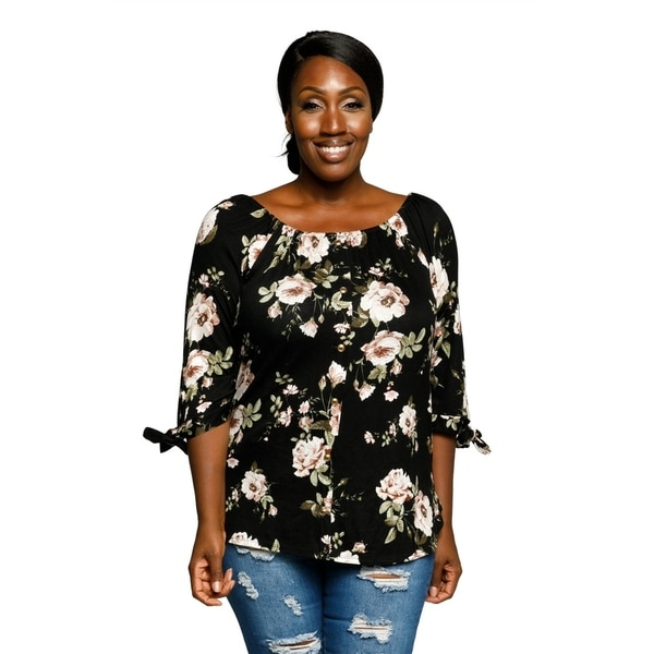 93f964ddfc2 Shop Xehar Womens Plus Size Casual Floral Tied Sleeves Summer Blouse ...