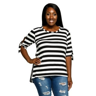 Xehar Womens Plus Size Striped Tie Sleeve Hi-Lo Tunic Blouse Top