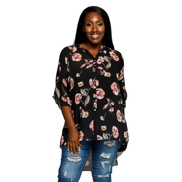 82be24ac6de Xehar Womens Plus Size Floral Button Sheer Tunic Shirt Blouse Top ...
