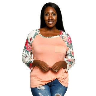 Xehar Womens Plus Size Casual Floral Raglan Sleeve Shirt Blouse Top