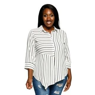 Xehar Womens Plus Size Asymmetrical Collared Striped Shirt Top