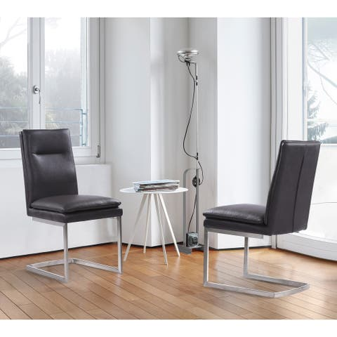 Armen Living Fenton Contemporary Dining Chair in Brushed Stainless Steel Finish with Grey Faux Leather - Set of 2
