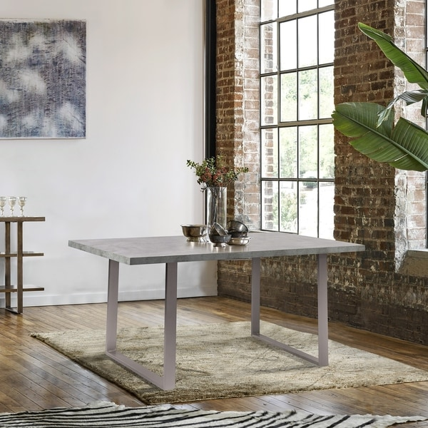 Fenton Contemporary Dining Table With Cement Gray Top   Grey