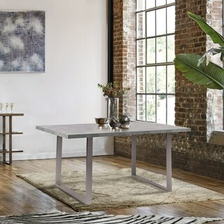 Finehaus Gallant Brushed Stainless Steel Contemporary Dining Table with Cement Grey Laminate Wood Top