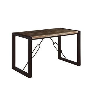 "Emerald Home Carlisle Matte Black and Bronze 59"" Dining Table with Wood Veneer Top And Metal Base"