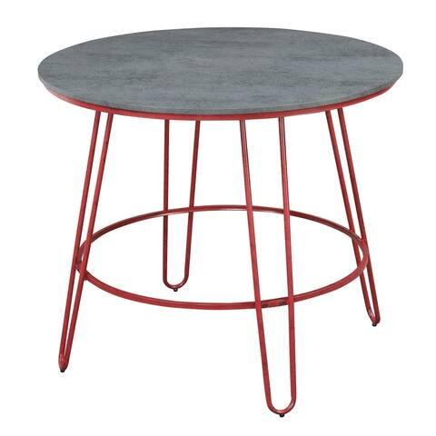Emerald Home Langston Barn Red and Smokey Gray Round Pub Height Dining Table with Round Table Top and Metal Legs