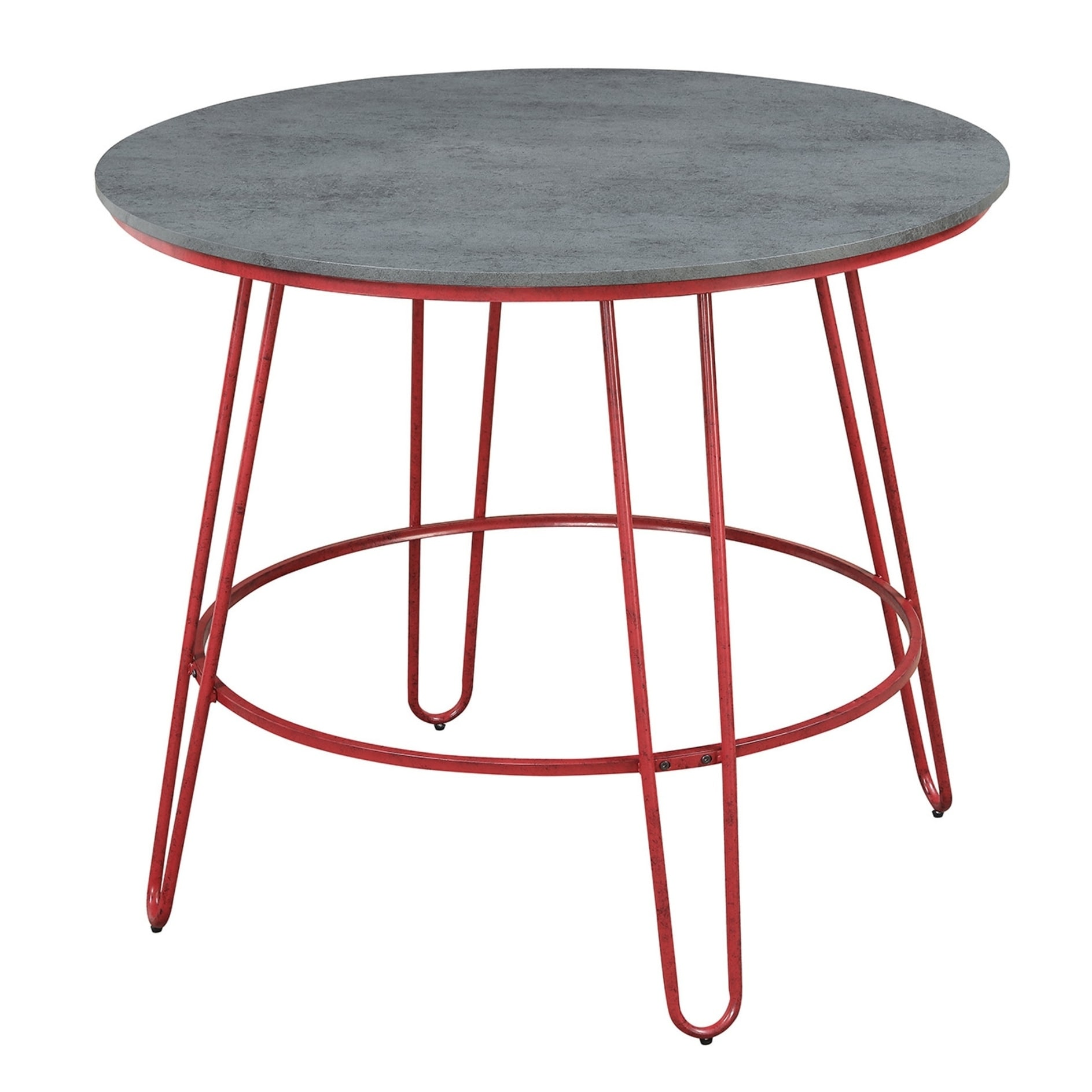 Emerald Home Langston Barn Red And Smokey Gray Round Pub Height Dining Table With Top Metal Legs