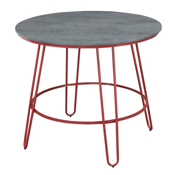 Outstanding Emerald Home Langston Barn Red And Smokey Gray Round Pub Height Dining Table With Round Table Top And Metal Legs Interior Design Ideas Clesiryabchikinfo