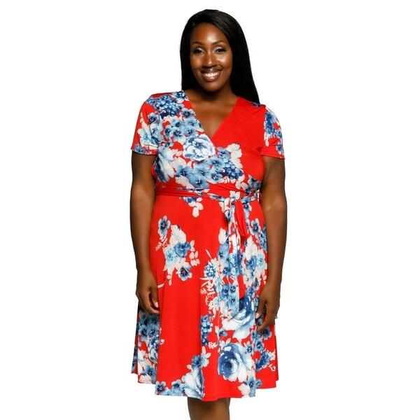 4f3716595a2 Shop Xehar Womens Plus Size Casual Floral Faux Wrap Waist Tie Midi ...