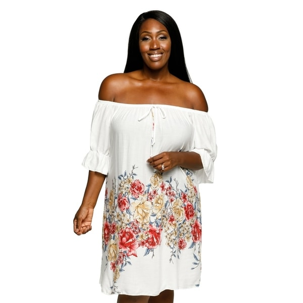 Shop Xehar Womens Plus Size Off Shoulder Boho Ruffle Floral Summer ... 42b3fda43
