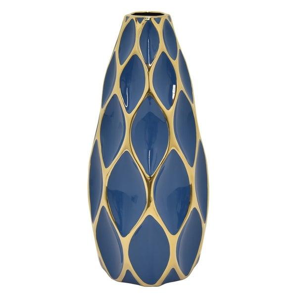 Three Hands Porcelain Vase - Blue & Gold